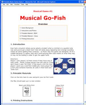 Printable Music Games Interface Example